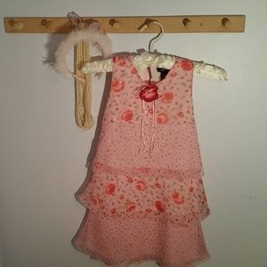 Pssst! Size 6X Pink Rose Flowered Formal Dress